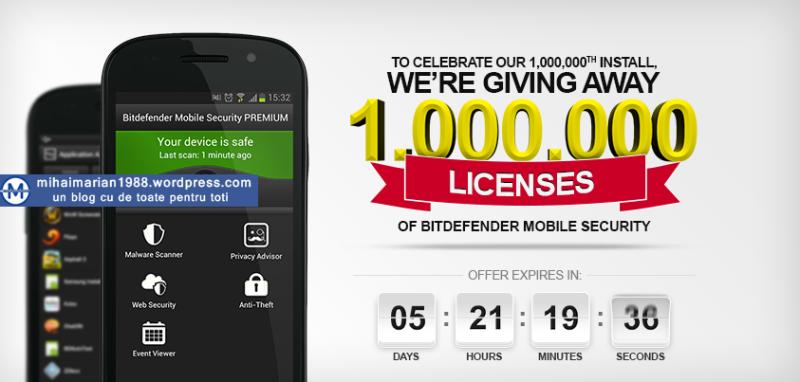 STIRI: Bitdefender ofera GRATUIT 1.000.000 de licențe Bitdefender Mobile Security.Nu, nu e o greșeala: 1 milion de licențe GRATUITE!!!