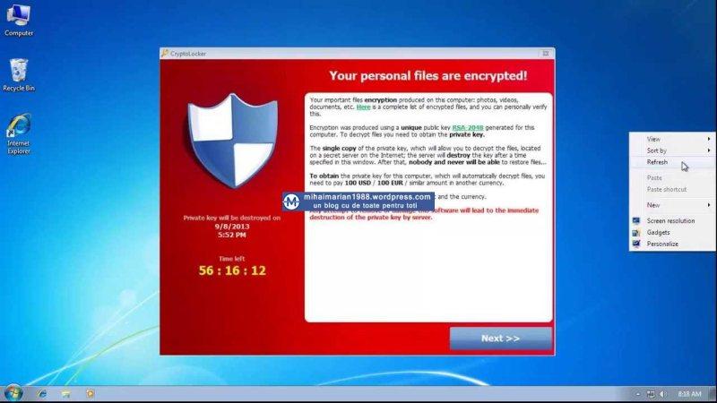 Frecventa de aparitie a virusului Cryptolocker in Romania creste