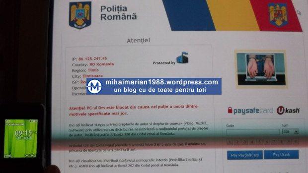 Suma incasata de hackeri de la utilizatorii care au avut PC-urile infectate cu virusul Politia Romana